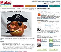 Our pirate pumpkin last year on MAKE's web site!