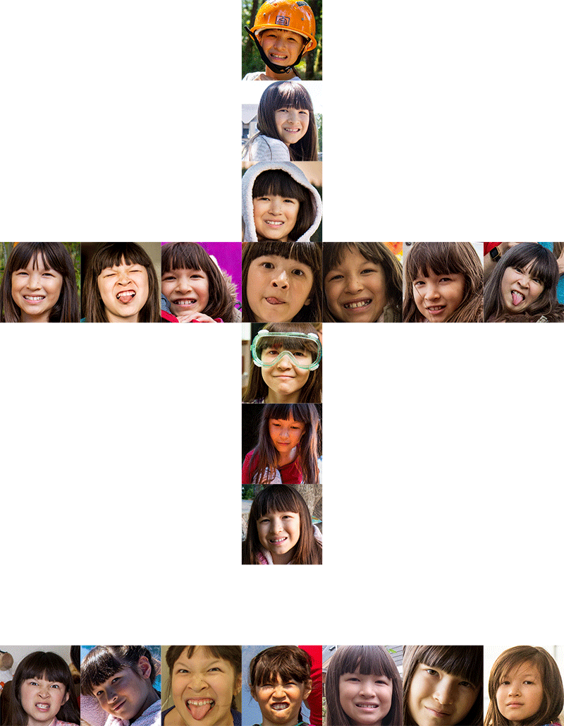 Collage of Kadie photos in the shape of a Chinese characters for eleven