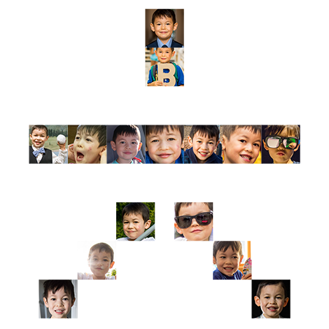 Collage of Bruce photos in the shape of a Chinese character six